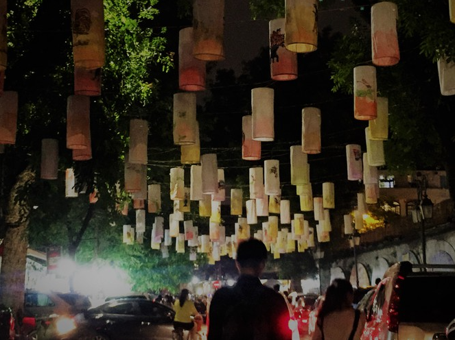 hanoi mural street highlighted with hanging lanterns in mid autumn fest