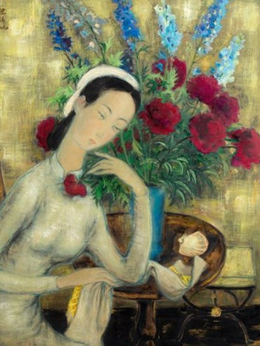 young girl with peonies painting vy vietnamese artist auctioned for 116 million euro