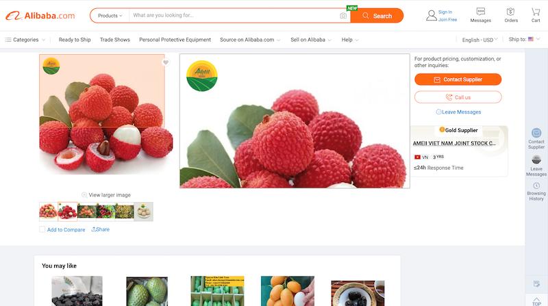 Beautiful Vietnamese lychees on online platforms worldwide