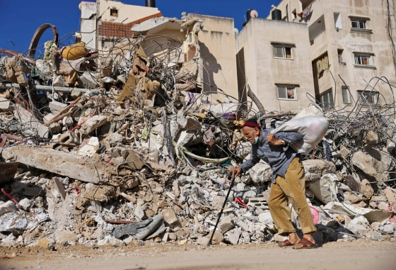 A building destroyed by Israeli bombardment in Gaza City on Wednesday.Mohammed Abed / AFP