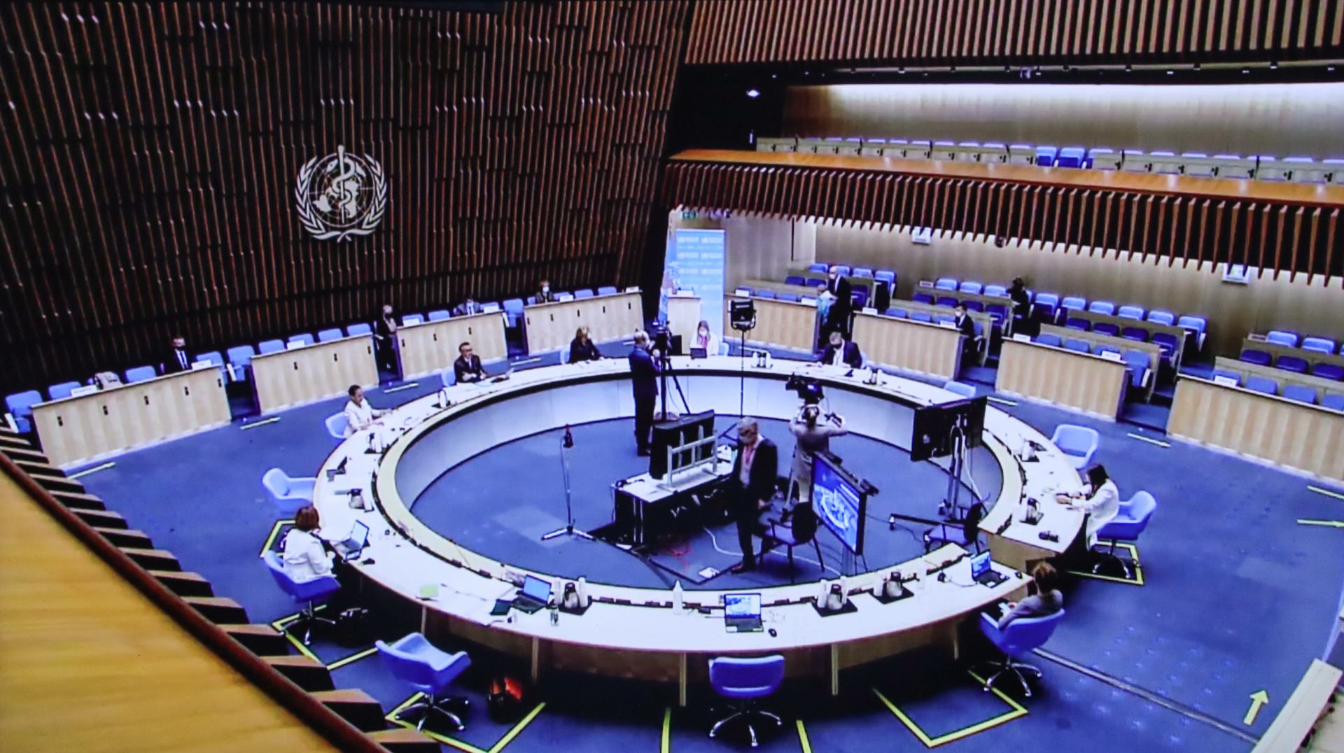 Photo taken in Brussels, Belgium on May 24, 2021 shows the live stream of the 74th World Health Assembly held at the World Health Organization (WHO) headquarters in Geneva, Switzerland. The 74th World Health Assembly (WHA) kicked off on Monday to stress t