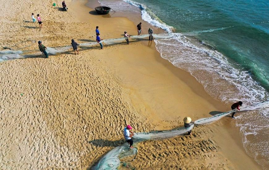 In Photos: Fishermen in Da Nang pull up fishing nets