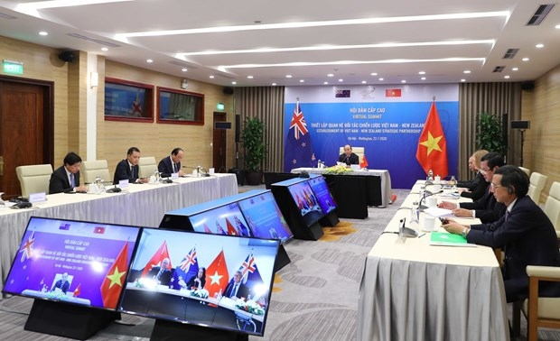 The virtual summit between New Zealand Prime Minister Jacinda Ardern and Việt Nam Prime Minister Nguyễn Xuân Phúc to formally elevate the bilateral relationship to Strategic Partnership on July 22, 2020. — Photos Courtesy of the embassy