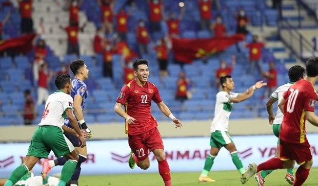 Vietnamese player Tien Linh celebrates scoring the opening goal in the 51st minute of the match (Photo: VNA)