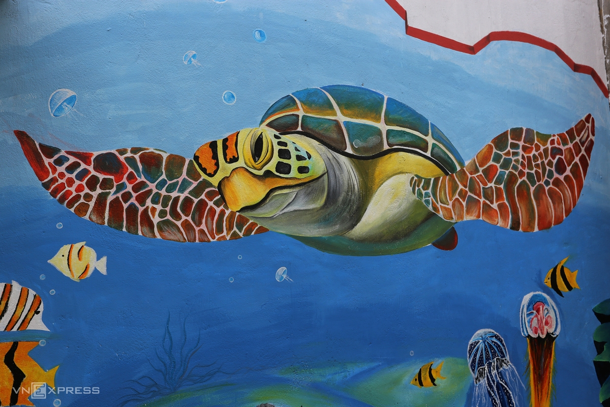 Sea turtle - a rare animal painted on the wall tp spread the message of protection. Recently, people in Tam Thanh released a net to catch some sea turtles and then returned them into the sea.