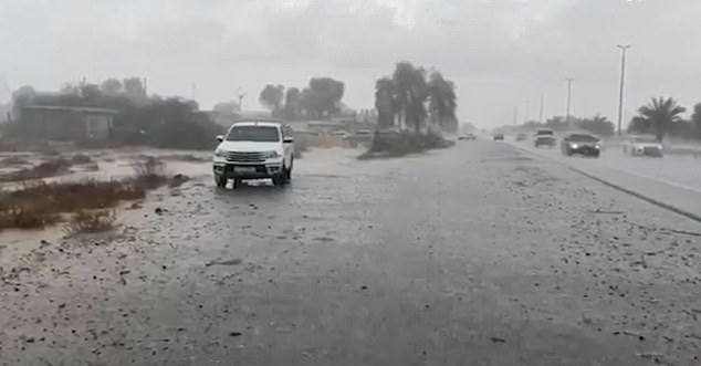 Video footage released by the UAE's National Center of Meteorology shows monsoon-like downpour across the country which create a sheet of rain on the highways. Photo Daily Mail
