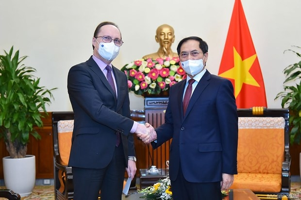 Minister of Foreign Affairs Bui Thanh Son (R) shakes hands with newly-appointed Russian Ambassador Gennady Bezdetko(Photo: baoquocte.vn)