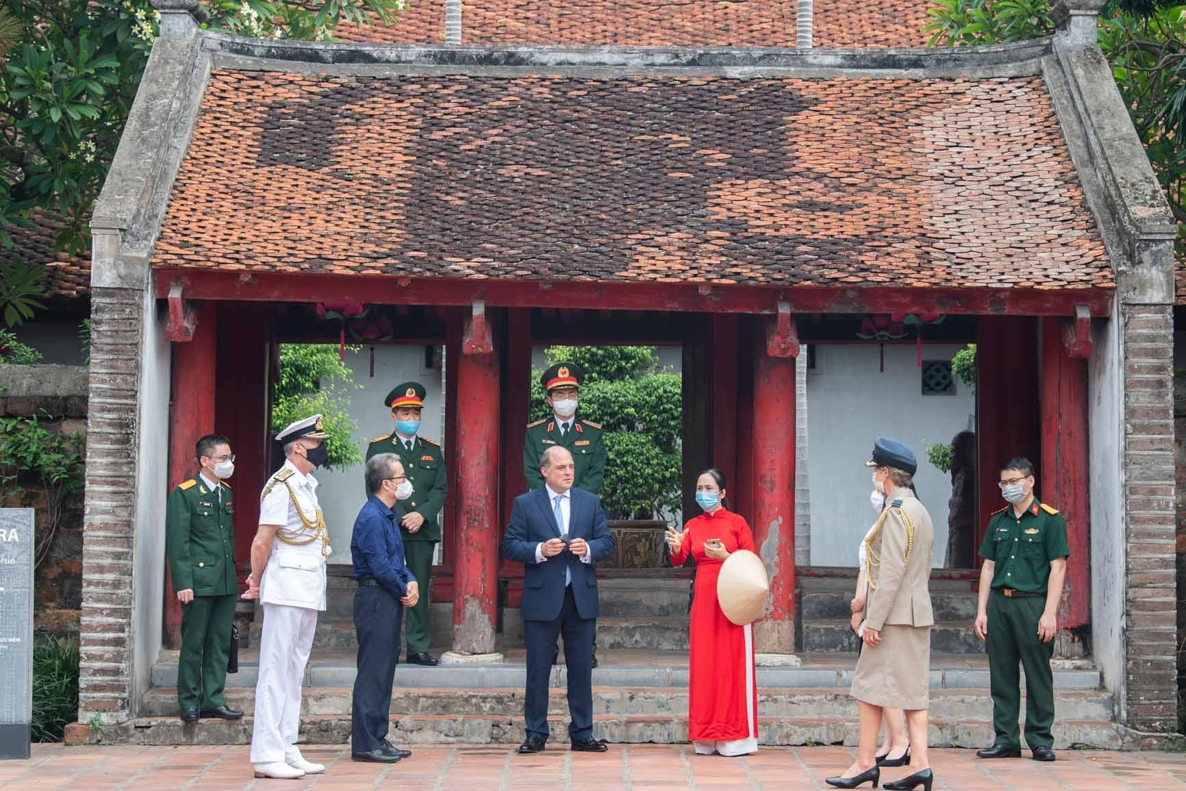 vists the Temple of Literature in Hanoi on Thursday.