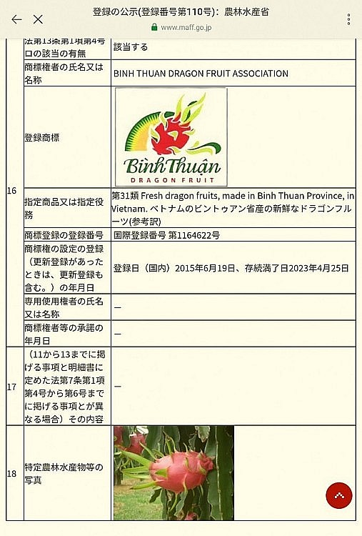 Binh Thuan Dragon Fruit Given Geographical Indication Certificate in Japan