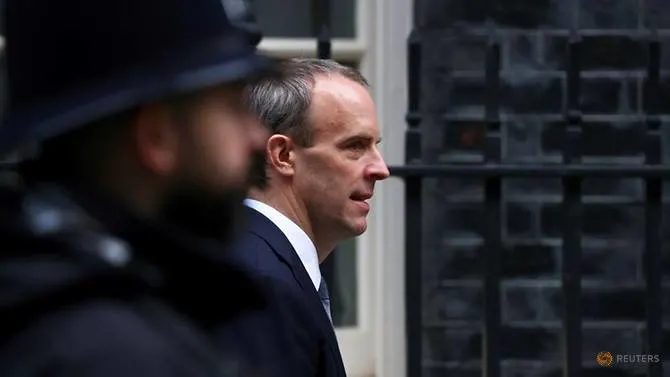 1717 file photo britain s foreign affairs secretary dominic raab arrives at downing street in london 1