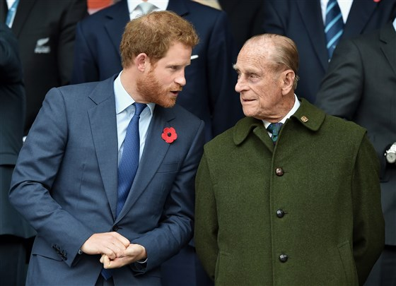Prince Harry and Prince Philip, Duke of Edinburgh attend the 2015 Rugby World Cup Final match on Oct. 31, 2015 in London, England.Getty Images