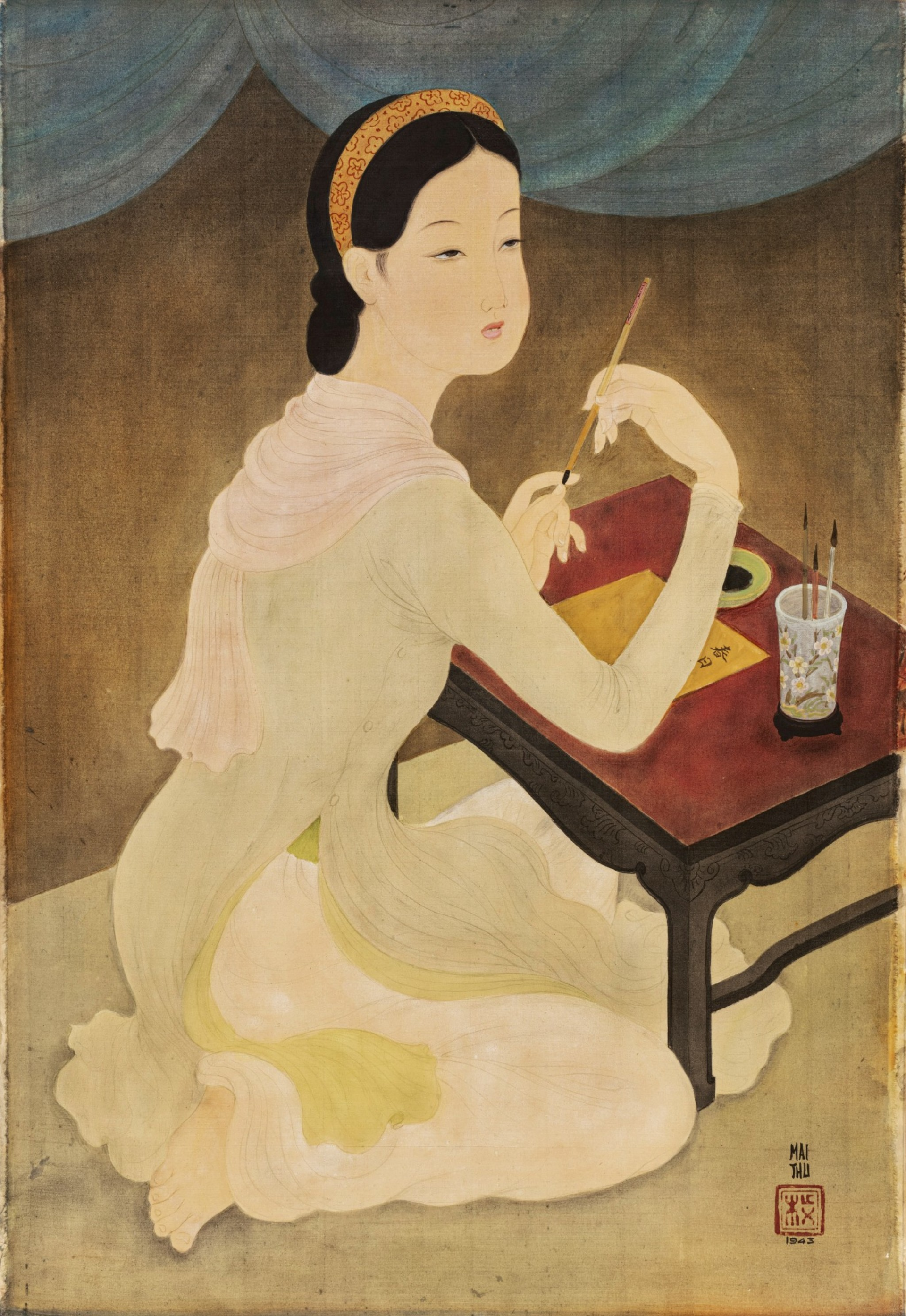 Mai Trung Thu Lady Writing a Poem, 1943 (Photo: Sotheby's)