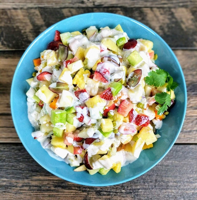 Russian salad with fruits. Photo: VegeCravings