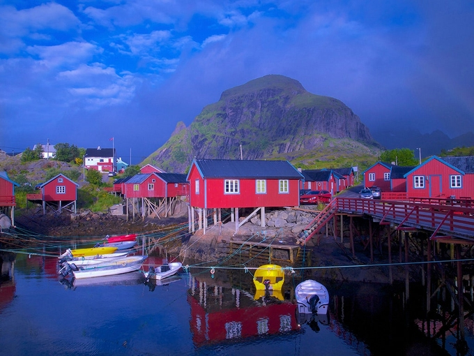 The Lofoten islands of Nordland are among the most scenic places on earth. Vertical spires of glacially carved granite rise from the Norwegian Sea 100 miles north of the Arctic Sea—but the weather is surprisingly mild, due to the Gulf Stream. Photo: