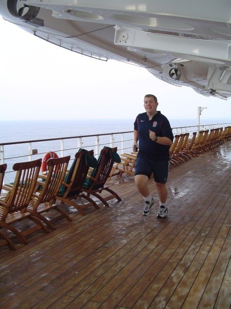 Paul Parry running on the deck of Queen Mary 2. Photo: Archieve
