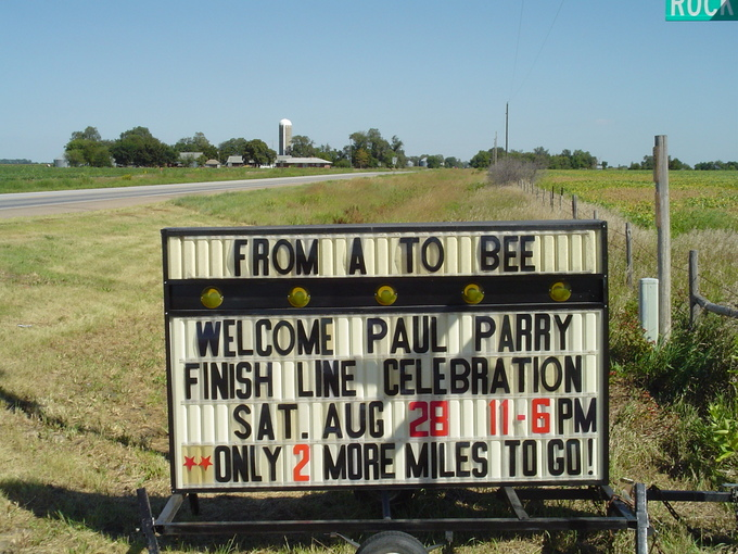 The welcome sign of Bee Town for Paul Parry. Photo: Archieve