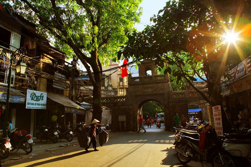 The O Quan Chuong Gate was a large thick wooden gate where at night the soldiers closed it and opened it early morning for people to enter the ancient Thang Long citadel. Photo: Donic Chinh