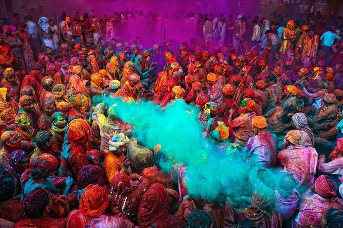 The Holi Festival of Colors in India is a celebration of the victory of good over evil, the destruction of the demoness Holika. It is celebrated every year on the day after the full moon in the Hindu month of Phalguna which is early March. People celebrate the start of spring and other events in the Hindu religion; they march the streets and spray people with colored powders while dancing and singing.