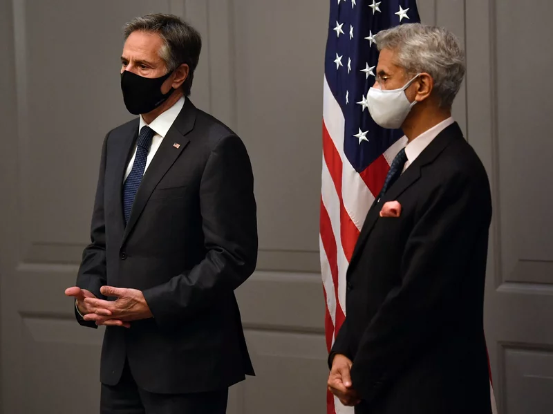 Secretary of State Antony Blinken attends a news conference with India's Foreign Minister Subrahmanyam Jaishankar following a bilateral meeting in London on Monday during the G-7 foreign ministers meeting. Ben Stansall/AFP via Getty Images