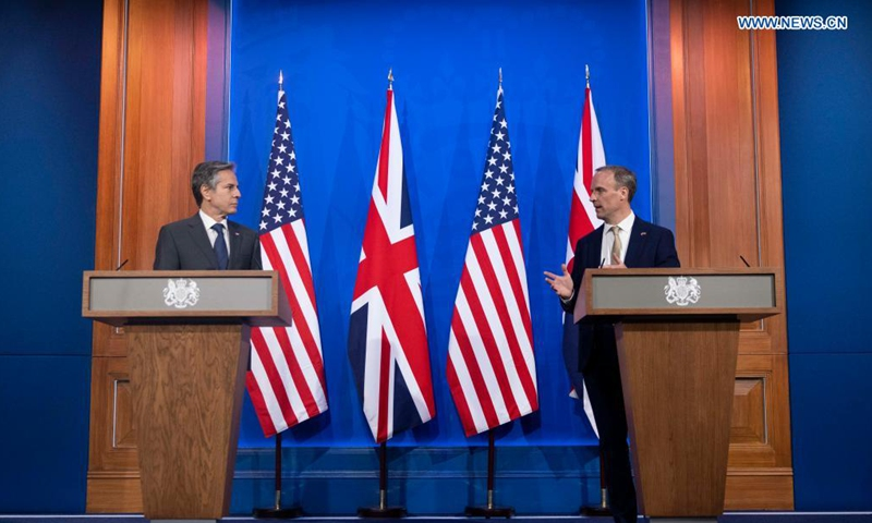 British Foreign Secretary Dominic Raab (R) and U.S. Secretary of State Antony Blinken attend a press conference ahead of the meeting of the Group of Seven (G7) foreign and development ministers in London, Britain, on May 3, 2021. British Foreign Secretary Dominic Raab on Monday met with U.S. Secretary of State Antony Blinken to discuss efforts to build back better from COVID-19 and a possible free trade agreement between the two countries. (Simon Dawsond/No 10 Downing Street/Handout via Xinhua)