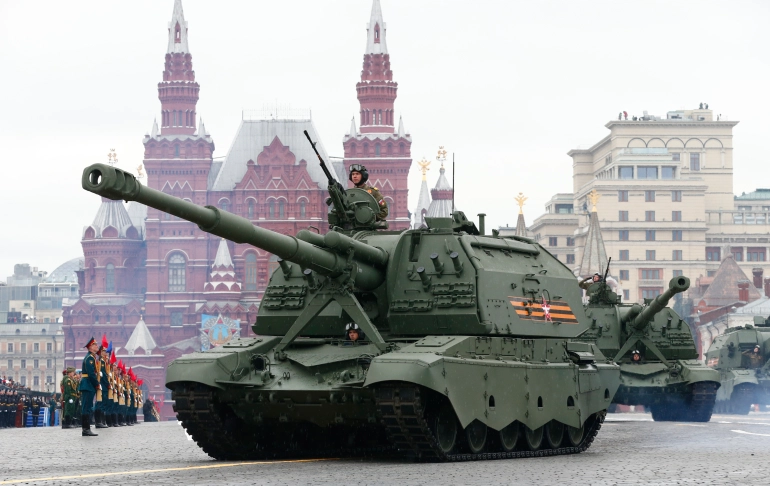 Russian tanks roll towards Red Square during Victory Day in Moscow [Alexander Zemlianichenko/AP]