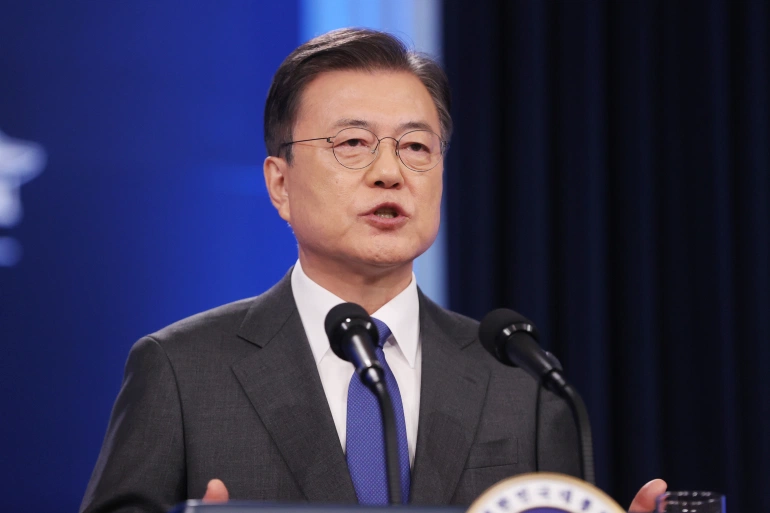 President Moon Jae-in speaks during a news conference at the Blue House in Seoul, South Korea [Yonhap via Reuters]
