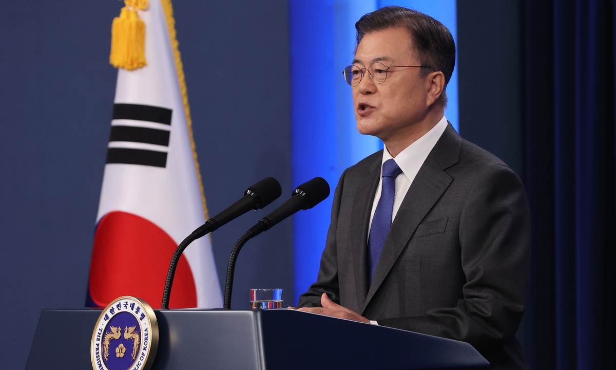 South Korean President Moon Jae-in said on Monday he sees his final year in office as the last chance to achieve a lasting peace with North Korea, and said it was time to take action amid stalled talks over Pyongyang's nuclear and missile programs. Photo: VCG
