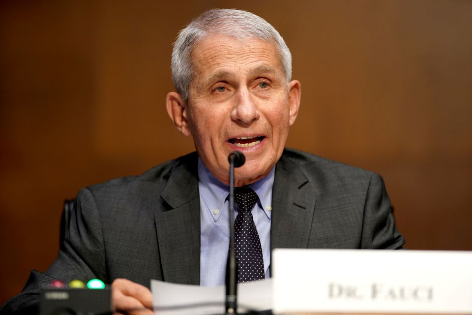 Dr. Anthony Fauci, director of the National Institute of Allergy and Infectious Diseases, gives an opening statement during a Senate Health, Education, Labor and Pensions Committee hearing to discuss the on-going federal response to COVID-19, at the U.S. Capitol in Washington, D.C., U.S., May 11, 2021. Greg Nash/Pool via REUTERS/File Photo