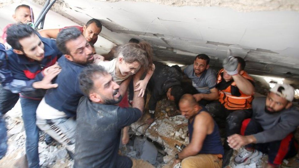 Suzy, six, was rescued from rubble in Gaza City on Sunday, but five members of her family died (Photo: Reuters)