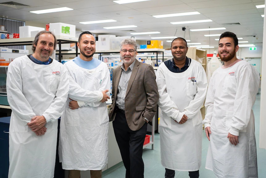 Griffith University's COVID-19 antiviral research team (LtoR) Professor Kevin Morris, Dr Adi Idris, Professor Nigel McMillan, Dr Arron Supramanin and Mr Yusif Idres.(Supplied: Griffith University)