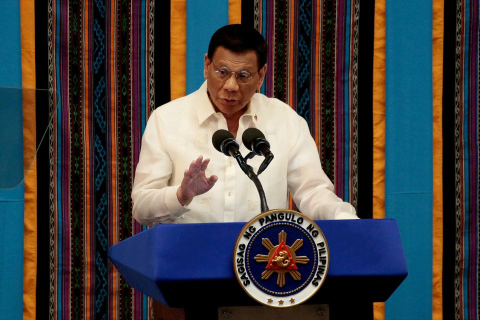 Philippine President Rodrigo Duterte gestures during his fourth State of the Nation address at the Philippine Congress in Quezon City, Metro Manila, Philippines, July 22, 2019. REUTERS/Eloisa Lopez