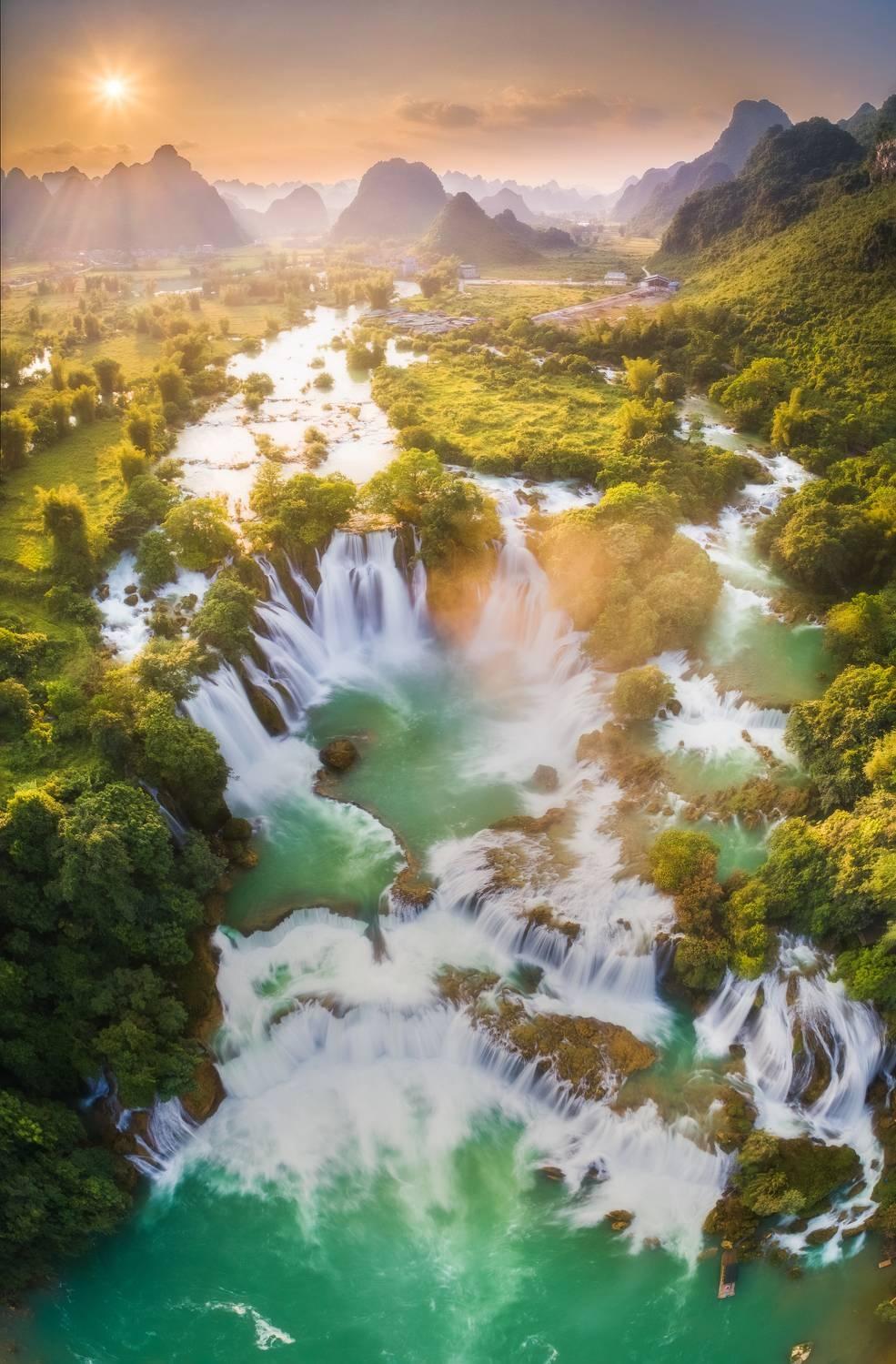 """Sunset on Ban Gioc Waterfall"" Photo: Vu Phi Long"