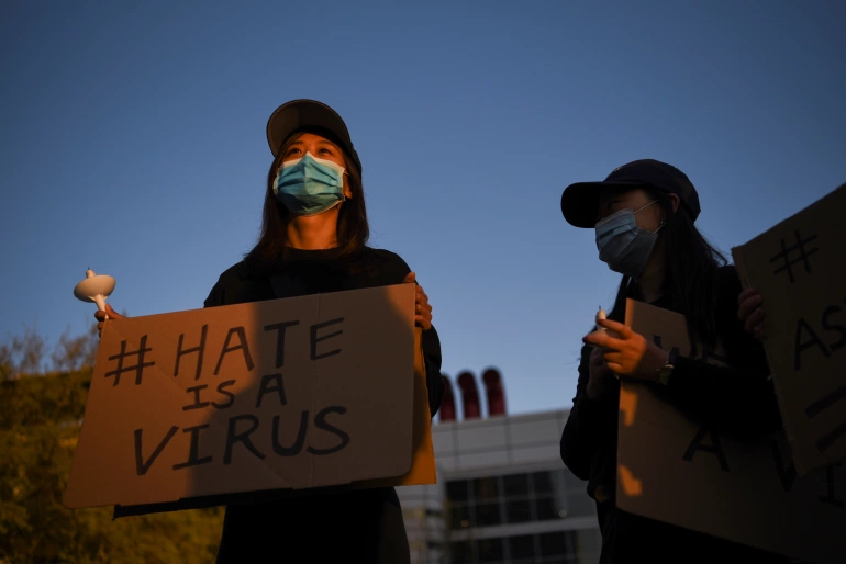 People protesting after the deadly shootings in Georgia and against violence targeting Asian Americans, in Houston, Texas, US [File: Callaghan O'Hare/Reuters]