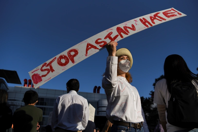Some 20 percent of respondents, according to a Pew Research poll, said former President DonaldTrump's rhetoric about China is to blame for the rise in violence against Asian Americans [File: Callaghan O'Hare/Reuters]