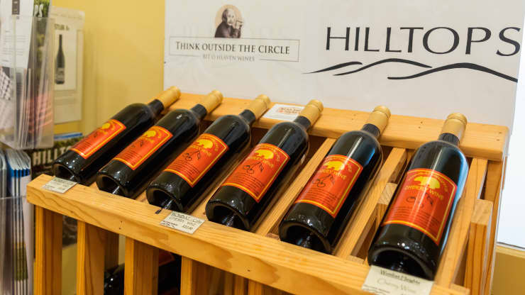 """Photo taken on Dec. 5, 2020 shows the wine made of cherry in the town of Young in Australia. The town of Young is dubbed the """"Cherry Capital of Australia"""". Chu Chen 