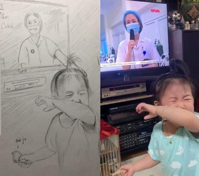 The little girl cried when she saw her mother, Phung Thi Hanh (28 year olds and is a nurse at 103 Military Hospital) on TV has drawn attention from the social media. A lot of people has potrayed this touching image with lovely sketches. Photo: FB.