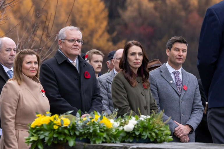Left to right: Jenny Morrison and her spouse Scott Morrison, Jacinda Ardern and her partner Clarke Gayford, at a wreath-laying ceremony at the Arrowtown Cenotaph during the annual Australia-New Zealand Leaders' Meeting in Queenstown, New Zealand [Peter Meecham/AAP via Reuters]