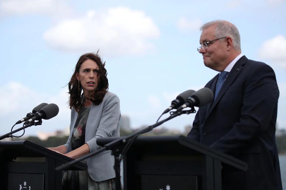 New Zealand Prime Minister Jacinda Ardern and Australian Prime Minister Scott Morrison hold a joint press conference at Admiralty House in Sydney, Australia, February 28, 2020. REUTERS/Loren Elliott