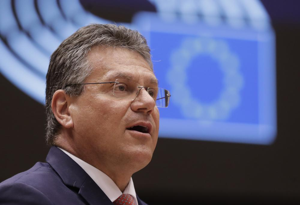 In this file photo dated Tuesday, April 27, 2021, European Commissioner for Inter-institutional Relations and Foresight Maros Sefcovic speaks during a debate at the European Parliament in Brussels. Photo: AP