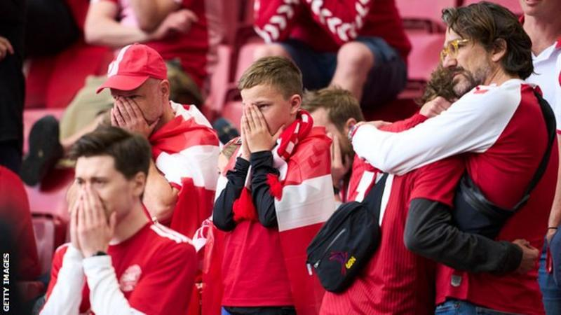 Fans were visibly upset as Eriksen received treatment on the pitch. Photo: Getty Images