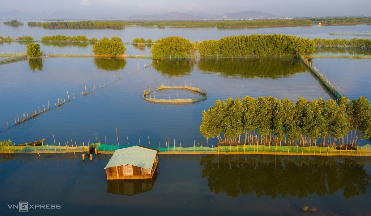 A peaceful house floating on Thi Nai lagoon's water surface at Chim islet, Tuy Phuoc district, about 15km from Quy Nhon. This place has more than 100 families living through many generations.  Photo: VnExpress