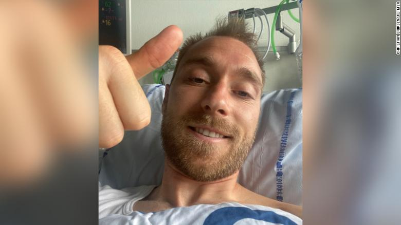 Christian Eriksen thanks well-wishers from his hospital bed. Photo: CNN