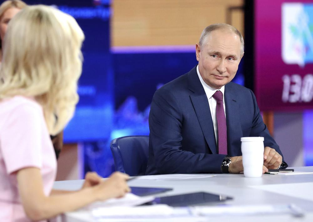 Russian President Vladimir Putin attends his annual live call-in show in Moscow, Russia, Wednesday, June 30, 2021.  Photo: AP