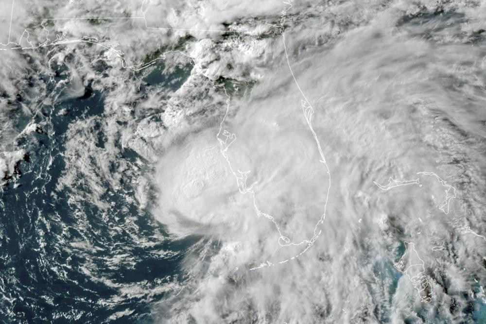 This GOES-16 GeoColor satellite image taken Tuesday, July 6, 2021, at 5:50 p.m. EDT, and provided by NOAA, shows Tropical Storm Elsa in the Gulf of Mexico off the coast of Florida.  Photo: AP
