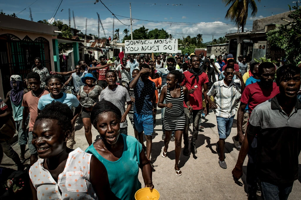 Protestors demonstrating against Mr. Moïse in Les Cayes, Haiti, in 2019.Credit...Meridith Kohut for The New York Times