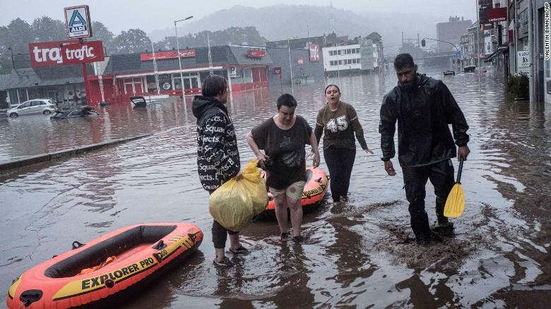 Deadly flooding in western Europe People use rafts to evacuate after the Meuse River broke its banks during heavy flooding in Liege, Belgium. Photo: CNN