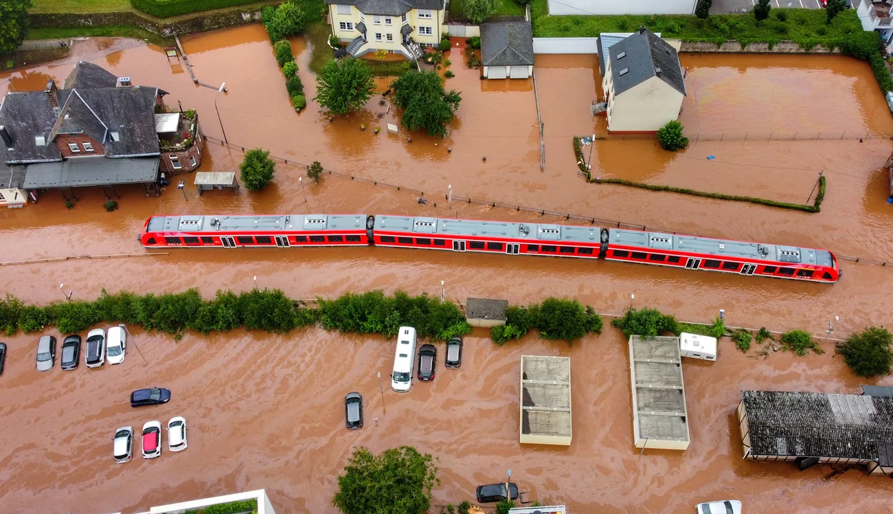 A regional train is stuck in floodwaters at a station in Kordel, Germany. Power went out, and the train came to a halt on Wednesday. Sebastian Schmitt/Picture Alliance/Getty Images