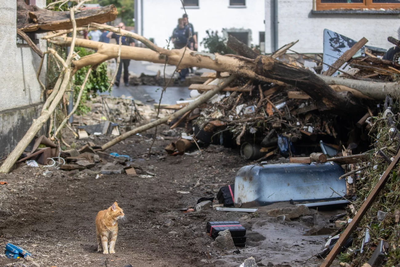 Debris lies in front of a house Thursday in Schuld in western Germany. Christoph Reichwein/Picture Alliance/Getty Images