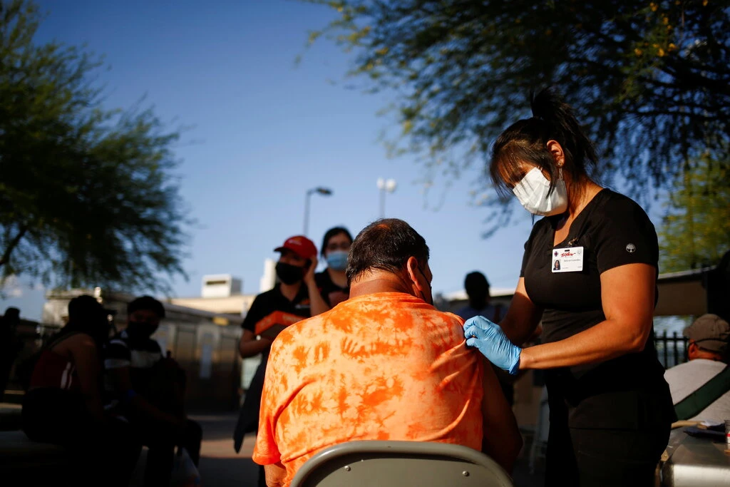 A vaccination site in El Paso, Texas, in May.  Photo: Reuters