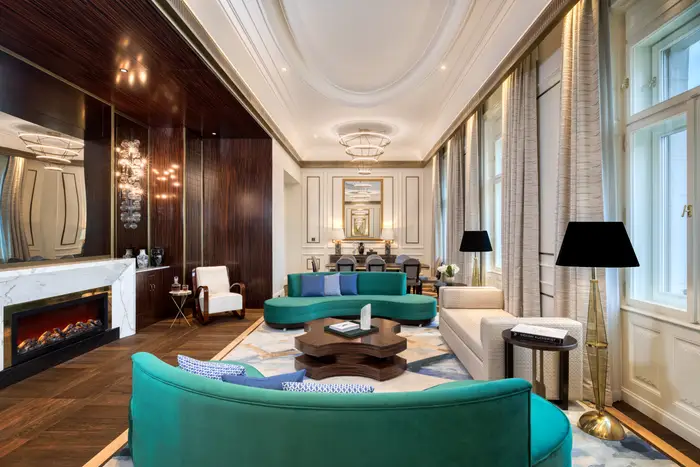 The Royal Suite living room. Matild Palace/The Luxury Collection